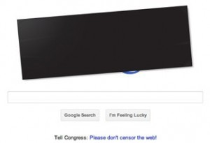 Google blacks out logo for SOPA protest