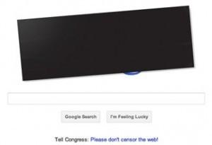 Google blacks out logo for SOPA protest