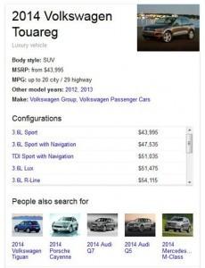 Google Knowledge Graph Volkswagen example